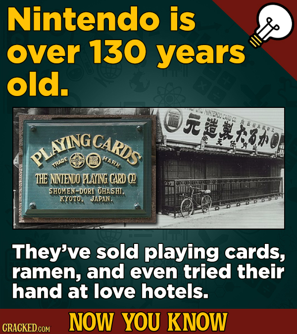 Nintendo is over 130 years old. ON M*X101 PLTINGCARDS MARK TRADE THE NNIENDO PLANG CARD 0 SHOMENDORI OHASHI. KYOTO, JAPAN, They've sold playing cards,