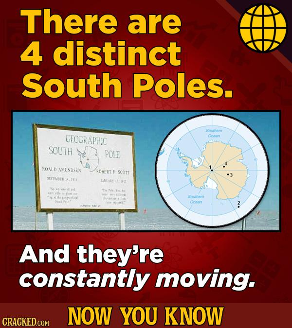 There are 4 distinct South Poles. Southem GEOGRAPHIC Ocean SOUTH POLE ROALD AMUNDSEN ROBERT SCOTT DIECEMBEN 14 1911 LANEALY amovet Yn tfene Southem TI