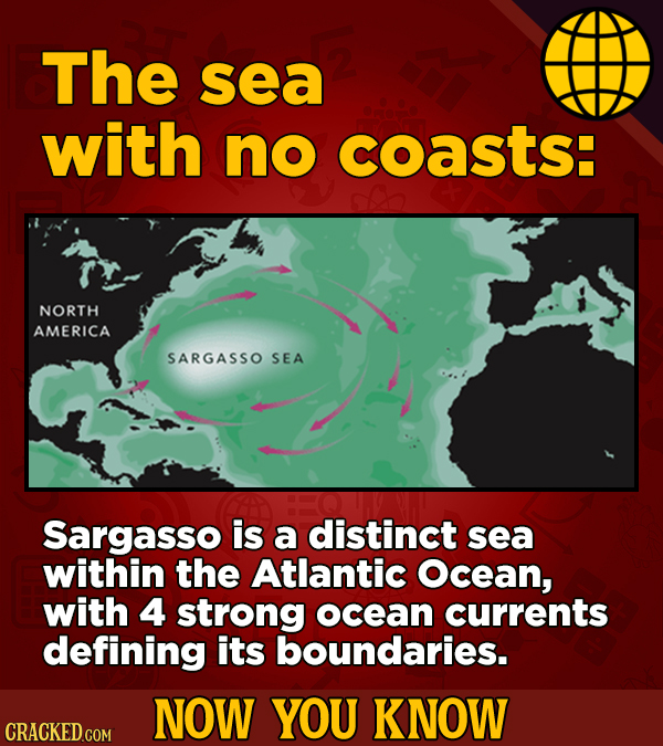 The sea with no coasts: NORTH AMERICA SARGASSO SEA Sargasso is a distinct sea within the Atlantic Ocean, with 4 strong ocean currents defining its bou