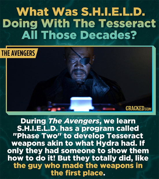 What Was S.H.L.E.L.D. Doing With The Tesseract All Those Decades? THE AVENGERS During The Avengers, we learn S.H.I.E.L.D. has a program called Phase