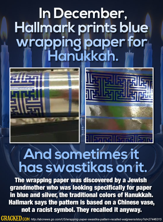 In December, Hallmark prints blue wrapping paper for Hanukkah. LF And sometimes it has swastikas on it. The wrapping paper was discovered by a Jewish