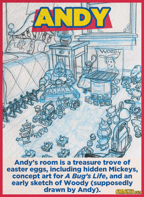 ANDY WOOdy SWEL Andy's room is a treasure trove of easter eggs, including hidden Mickeys, concept art for A Bug's Life, and an early sketch of Woody (