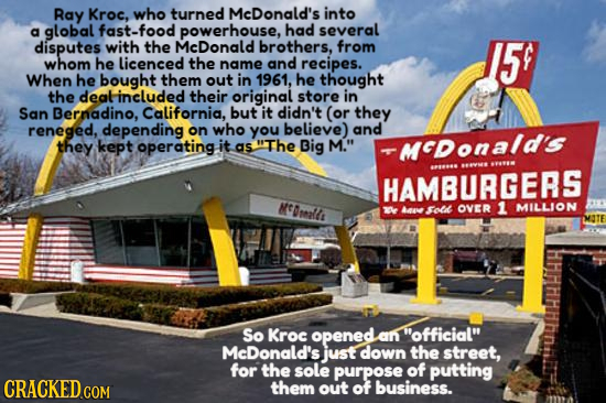 Ray Kroc, who turned McDonald's into a global fast-food powerhouse, had several disputes with the McDonald brothers. from 5 whom he licenced the name