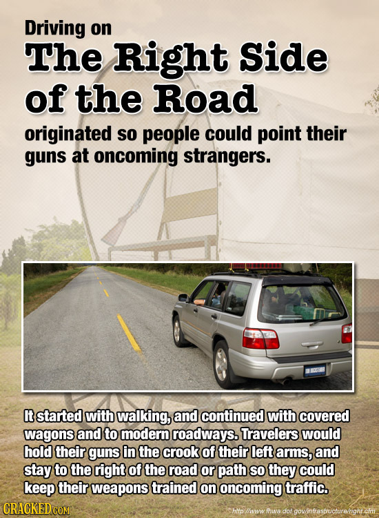 Driving on The Right Side of the Road originated so people could point their guns at oncoming strangers. It started with walking, and continued with c