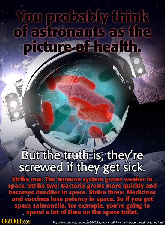 You probably think of astronauts as the picture of health. But the truth is, they're screwed if they get sick. Strike one: The immune system grows wea