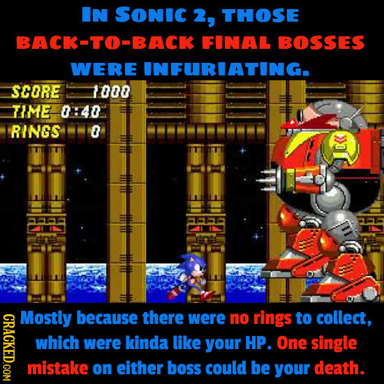 IN SONIC 2, THOSE BACK-TO-BACK FINAL BOSSES WERE INFURIATING. SCORE 1000 TIME 0140 RINGS 0 IC<< CRACKED.COM Mostly because there were no rings to coll