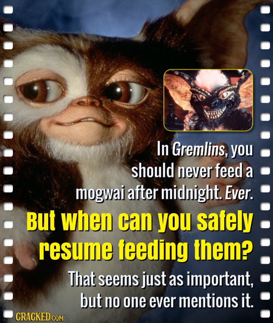 In Gremlins, you should never feed a mogwai after midnight. Ever. But when can you safely resume feeding them? That seems just as important, but no on