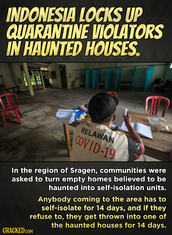 INDONESIA LOCKS UP QUARANTINE VIOLATORS IN HAUNTED HOUSES. RELAWAN COVID-19 In the region of Sragen, communities were asked to turn empty homes believ