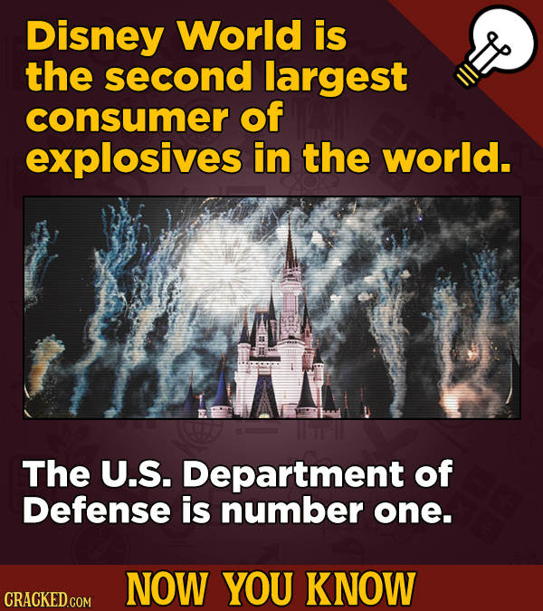 Disney World is the second largest consumer of explosives in the world. The U.S. Department of Defense is number one. NOW YOU KNOW CRACKED COM