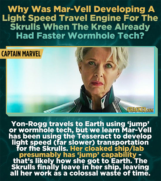 Why Was Mar-Vell Developing A Light Speed Travel Engine For The Skrulls When The Kree Already Had Faster Wormhole Tech? CAPTAIN MARVEL CRAGKED.COM Yon
