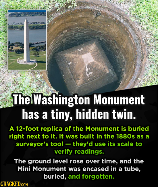 The Washington Monument has a tiny, hidden twin. A 12-foot replica of the Monument is buried right next to it. It was built in the 1880s as a surveyor