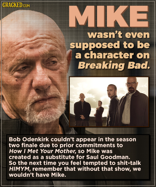 CRACKEDcO MIKE wasn't even supposed to be a character on Breaking Bad. Bob Odenkirk couldn't appear in the season two finale due to prior commitments