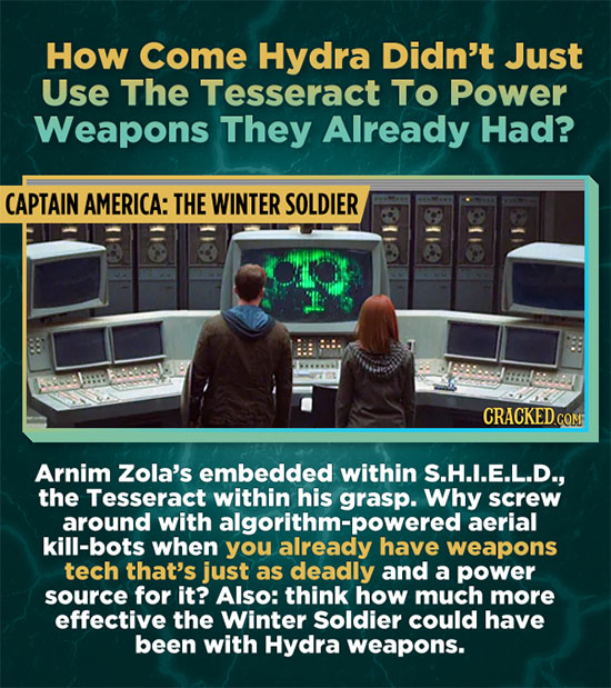 How Come Hydra Didn't Just Use The Tesseract To Power Weapons They Already Had? CAPTAIN AMERICA: THE WINTER SOLDIER CRACKEDCO Arnim Zola's embedded wi