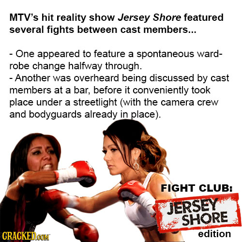 MTV'S hit reality show Jersey Shore featured several fights between cast members... - One appeared to feature a spontaneous ward- robe change halfway