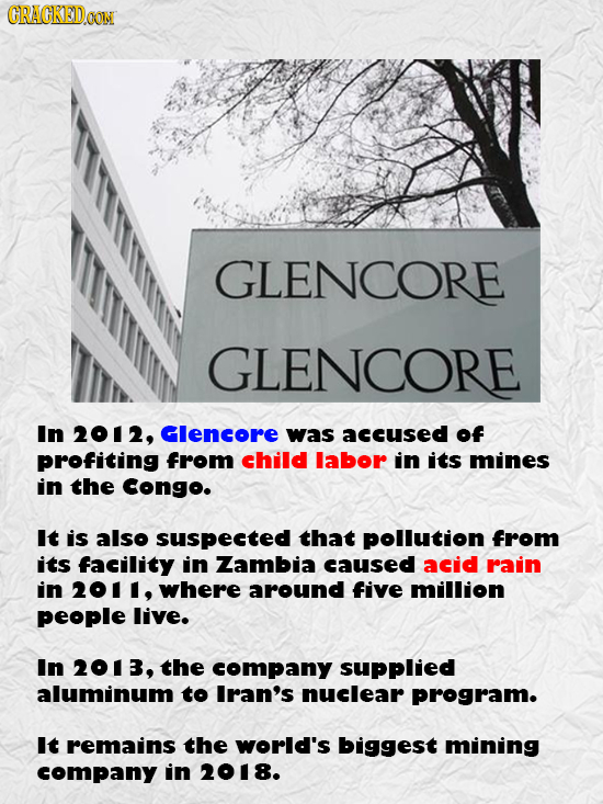 GRAGKEDa GLENCORE GLENCORE In 2012, Glencore was accused of profiting from child labor in its mines in the Congo. It is also suspected that pOLution f
