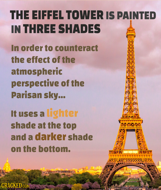 THE EIFFEL TOWER IS PAINTED IN THREE SHADES In order to counteract the effect of the atmospheric perspective of the Parisan sky... It lighter uses a s