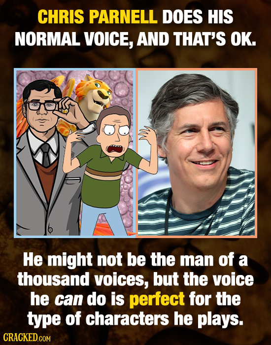 CHRIS PARNELL DOES HIS NORMAL VOIce, AND THAT'S OK. He might not be the man of a thousand voices, but the voice he can do is perfect for the type of c