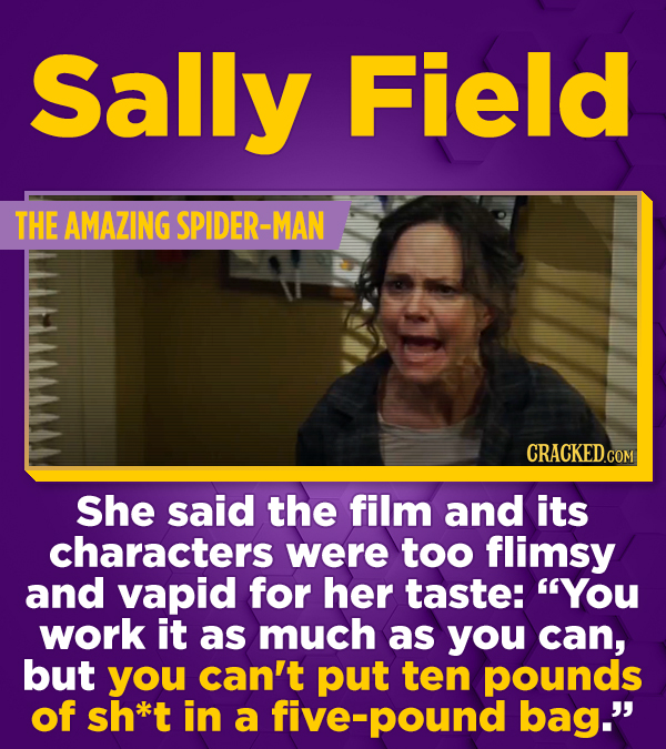 Sally Field THE AMAZING SPIDER-MAN CRACKED.COM She said the film and its characters were too flimsy and vapid for her taste: YOu work it as much as y
