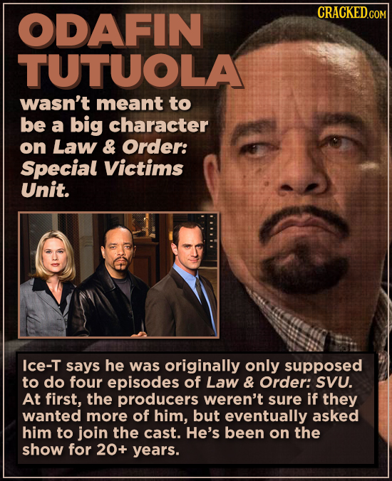 ODAFIN TUTUOLA wasn't meant to be a big character on Law & Order: Special Victims Unit. Ice-T says he was originally only supposed to do four episodes