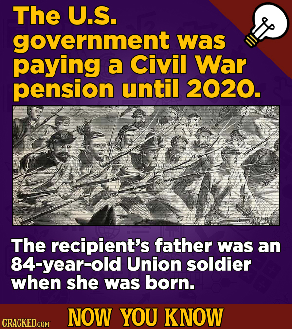 The U.S. government was paying a Civil War pension until 2020. The recipient's father was an 84-year-old Union soldier when she was born. NOW YOU KNOW