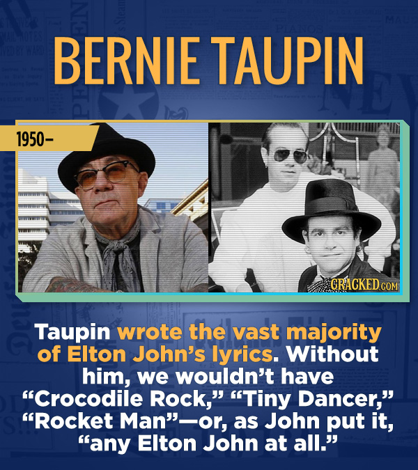 "18 Amazing People Too Many Of Us Haven't Heard Of - Taupin wrote the vast majority of Elton John's lyrics. Without him, we wouldn't have ""Crocodile Ro"