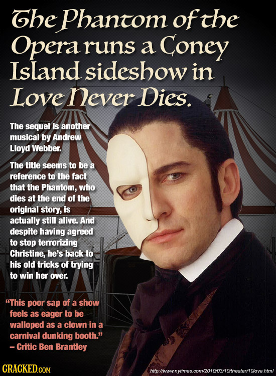Ghe Phantom of the Opera runs a Coney Island sideshow in Love never Dies. The sequel is another musical by Andrew Lloyd Webber. The title seems to be