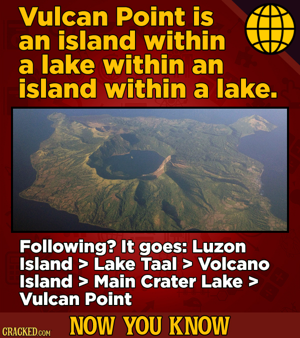 Vulcan Point is an island within a lake within an island within a lake. Following? It goes: Luzon Island > Lake Taal > Volcano Island > Main Crater La