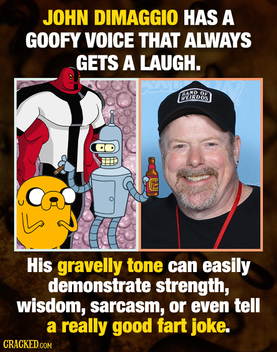 JOHN DIMAGGIO HAS A GOOFY VOICE THAT ALWAYS GETS A LAUGH. BAND OF WEIRDOS His gravelly tone can easily demonstrate strength, wisdom, sarcasm, or even
