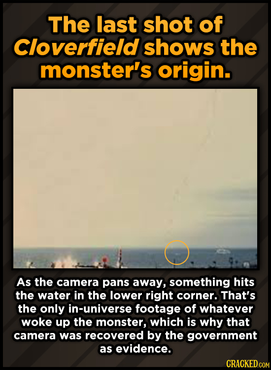 The last shot of Cloverfield shows the monster's origin. As the camera pans away, something hits the water in the lower right corner. That's the only