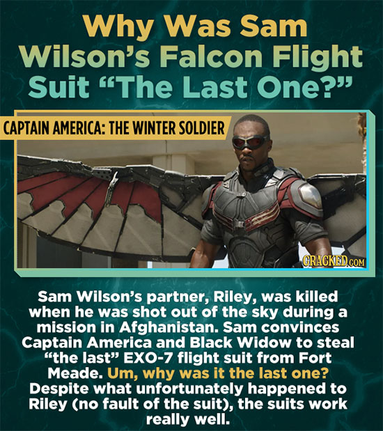 Why Was Sam Wilson's Falcon Flight Suit The Last One? CAPTAIN AMERICA: THE WINTER SOLDIER Sam Wilson's partner, Riley, was killed when he was shot o