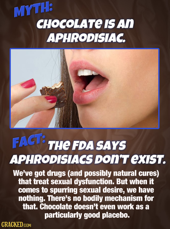 MYTH: CHOCOLATE IS An APHRODISIAC. FACT: THE FDA SAYS APHRODISIACS DON'T exIST. We've got drugs (and possibly natural cures) that treat sexual dysfunc