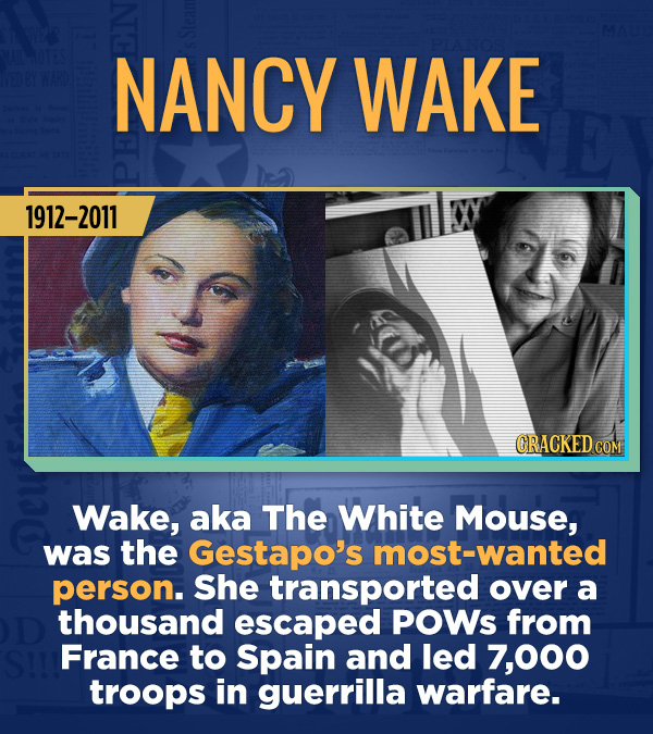 18 Amazing People Too Many Of Us Haven't Heard Of - Wake, aka The White Mouse, was the Gestapo's most-wanted person. She transported over a thousand e