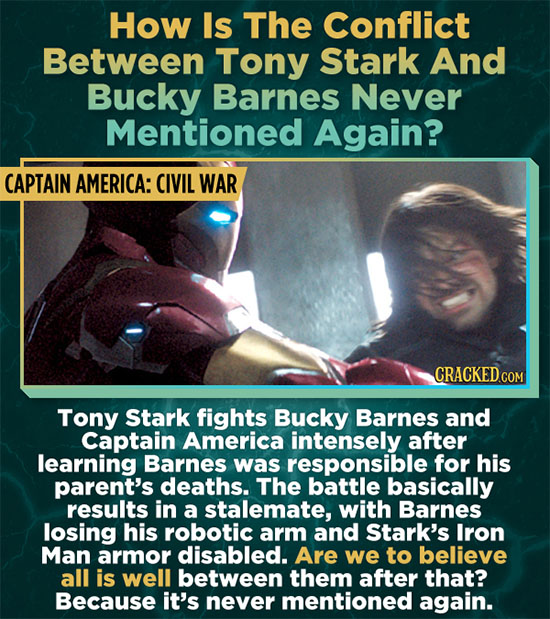 How Is The Conflict Between Tony Stark And Bucky Barnes Never Mentioned Again? CAPTAIN AMERICA: CIVIL WAR Tony Stark fights Bucky Barnes and Captain A