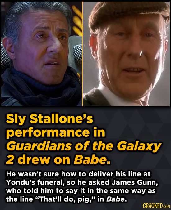 Sly Stallone's performance in Guardians of the Galaxy 2 drew on Babe.