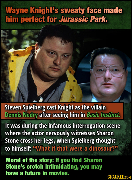Wayne Knight's sweaty face made him perfect for Jurassic Park. Steven Spielberg cast Knight as the villain Dennis Nedry after seeing him in Basic Inst
