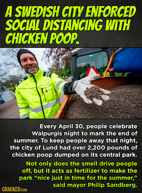 A SWEDISH CITY ENFORCED SOCIAL DISTANCING WITH CHICKEN POOP. Every April 30, people celebrate Walpurgis night to mark the end of summer. To keep peopl