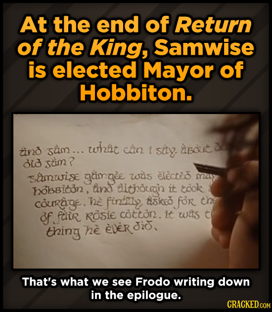 At the end of Return of the King, Samwise is elected Mayor of Hobbiton. sam... whtit and can 1 sily. about BLd scimn? samwise gimgee was electei 25 ol