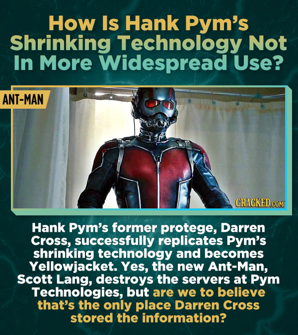 How Is Hank Pym's Shrinking Technology Not In More Widespread Use? ANT-MAN Hank Pym's former protege, Darren Cross, successfully replicates Pym's shri