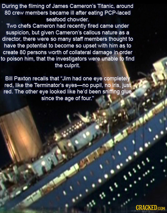 During the filming of James Cameron's Titanic, around 80 crew members became ill after eating PCP-laced seafood chowder. Two chefs Cameron had recentl