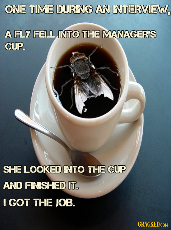 ONE TIME DURNG AN INTERVEW, A FLY FELL INTO THE MANAGER'S CUP. SHE LOOKED INTO THE CUP AND FINISHED IT. I GOT THE JOB. CRACKED.COM