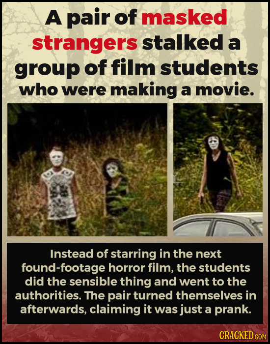 A pair of masked strangers stalked a group of film students who were making a movie. Instead of starring in the next found-footage horror film, the st