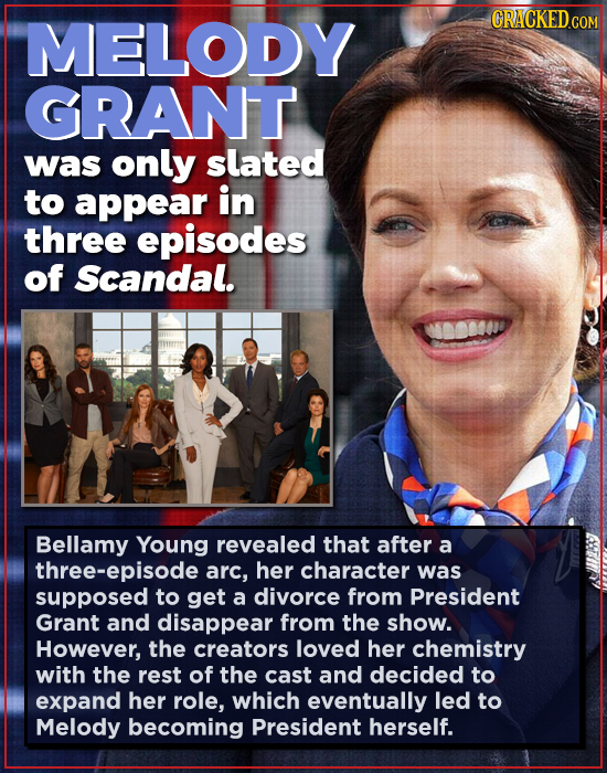 MELODY GRANT was only slated to appear in three episodes of Scandal. Bellamy Young revealed that after a three-episode arc, her character was supposed