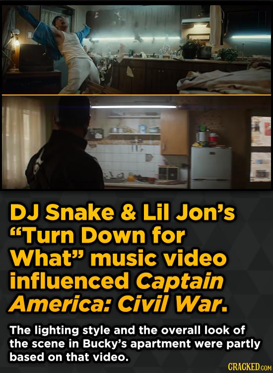 DJ Snake & Lil Jon's Turn Down for What music video influenced Captain America: Civil