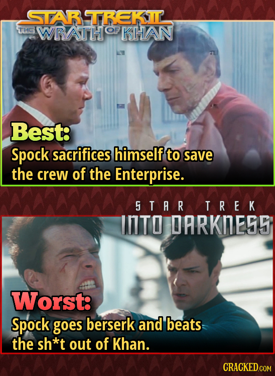 STAR TREKIL THG WRATH OF KHAN Best: Spock sacrifices himself to save the crew of the Enterprise. S TAR TREK INTO DARKNEDS Worst: Spock goes berserk an