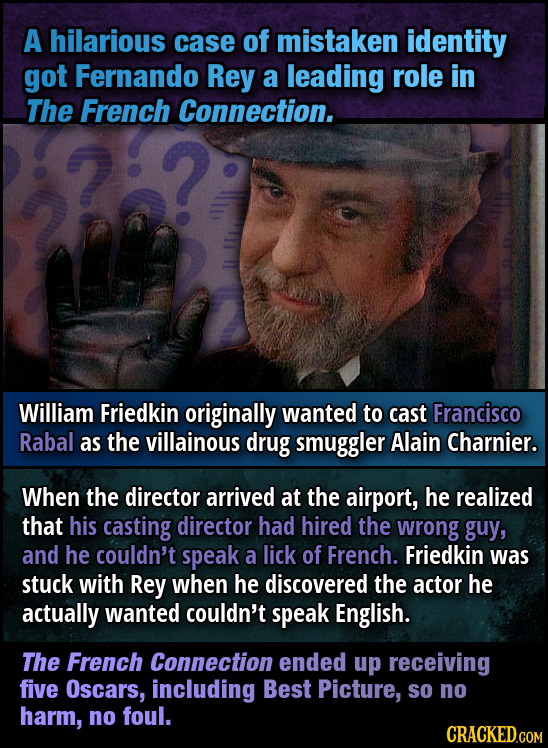 A hilarious case of mistaken identity got Fernando Rey a leading role in The French Connection. William Friedkin originally wanted to cast Francisco R
