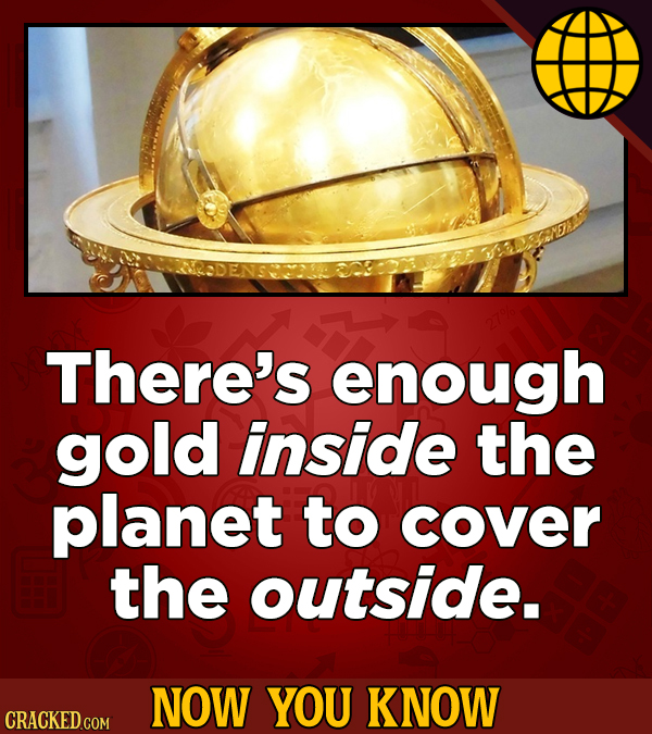 There's enough gold inside the planet to cover the outside. NOW YOU KNOW CRACKED COM