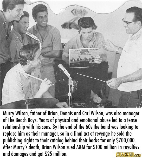 SHUT DOWN Murry Wilson, father of Brian, Dennis and Carl Wilson, was also manager of The Begch Boys. Years of physical and emotional abuse led to a te