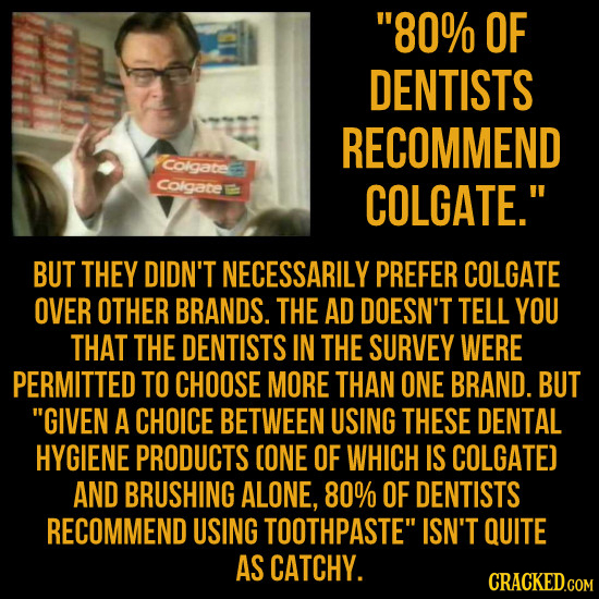 80% OF DENTISTS RECOMMEND Colgate Colgate COLGATE. BUT THEY DIDN'T NECESSARILY PREFER COLGATE OVER OTHER BRANDS. THE AD DOESN'T TELL YOU THAT THE DE