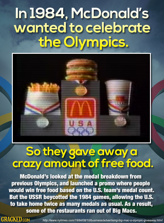 In 1984, McDonald's wanted to celebrate the Olympics. USA So they gave away a crazy amount of free food. McDonald's looked at the medal breakdown from