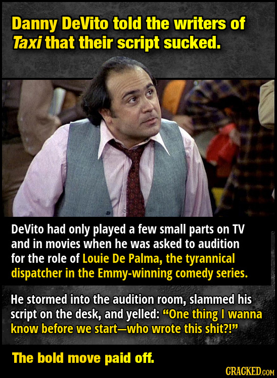 Danny DeVito told the writers of Taxi that their script sucked. DeVito had only played a few small parts on TV and in movies when he was asked to audi